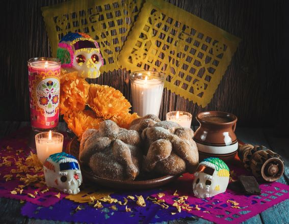 Bread of the Dead on decorated table