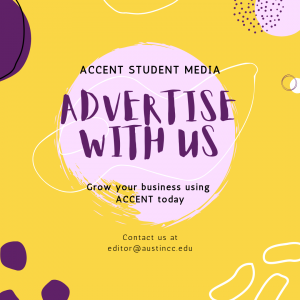 advertise with accent poster in yellow with purple writing and circle deco