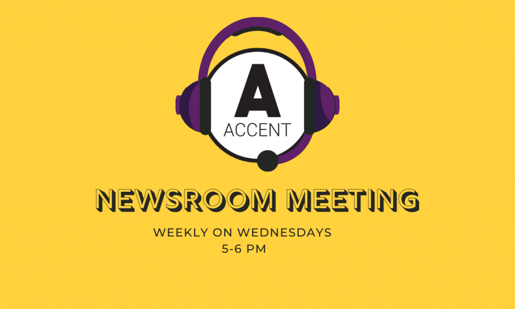 Newroom meetings every Wednesday from 5 to 6 pm