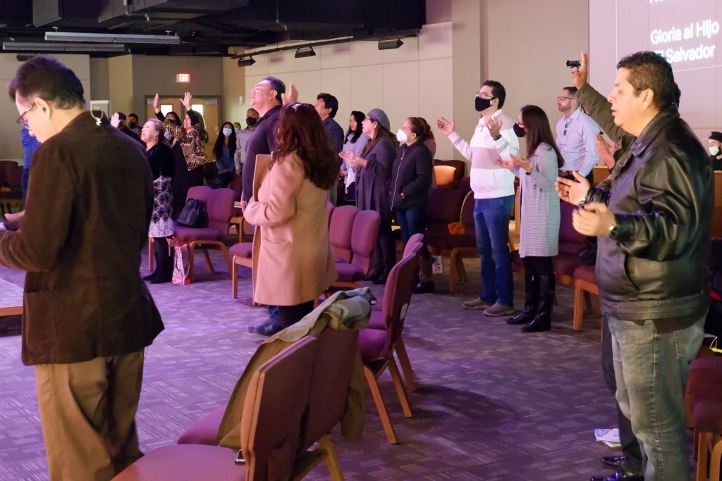 Congregants enjoy worship music during Austin Oaks Church's Spanish language service in Austin, TX, Dec. 6, 2020. Austin Oaks opened its Spanish service to the public for the first time since March.