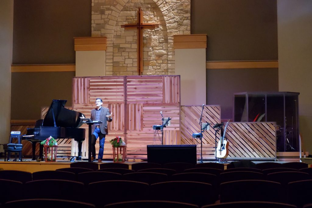 Pastor Omar Argumedo preaches to a camera and an empty sanctuary at Austin Oaks Church in Austin, TX, Sunday, Nov. 29, 2020. The Austin Oaks team canceled their outdoor service on Nov. 29 due to inclement weather.