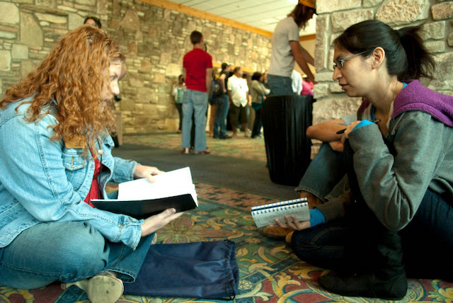 Feature Photo - Sarah Vasquez (right) interviews an ACC student for ACCENT while on campus when she attended the school in 2009. Photo taken by Karissa Rodriguez