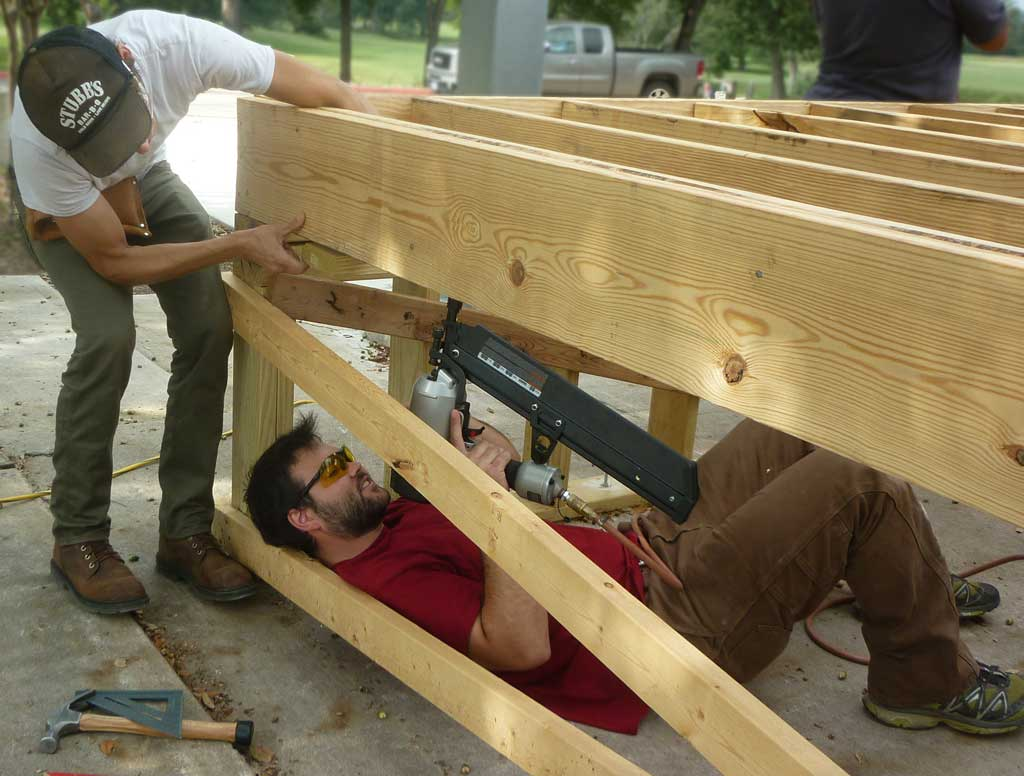 Nailing joists from below