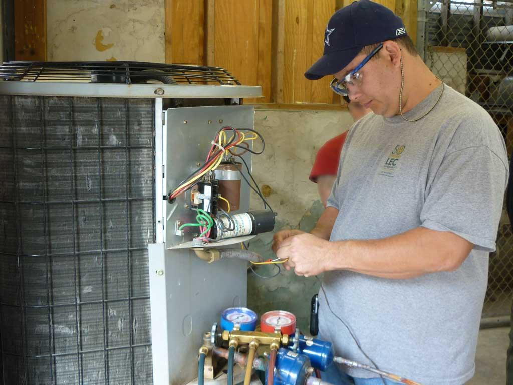 Connect electricity to HVAC unit