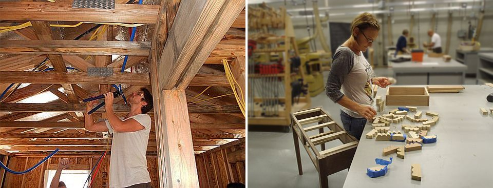 student installing water lines (construction) and another student building a desk (woodworking)