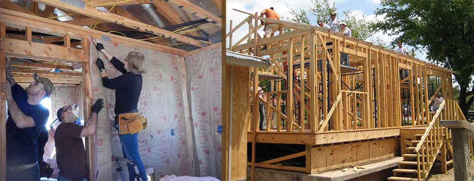students adding insulation and on framing