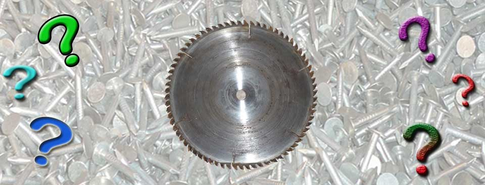table saw blade and question marks