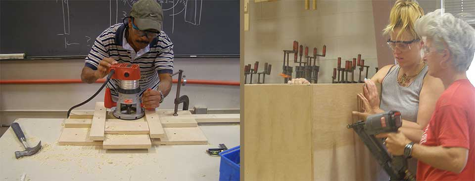 student using a router, other students building a cabinet