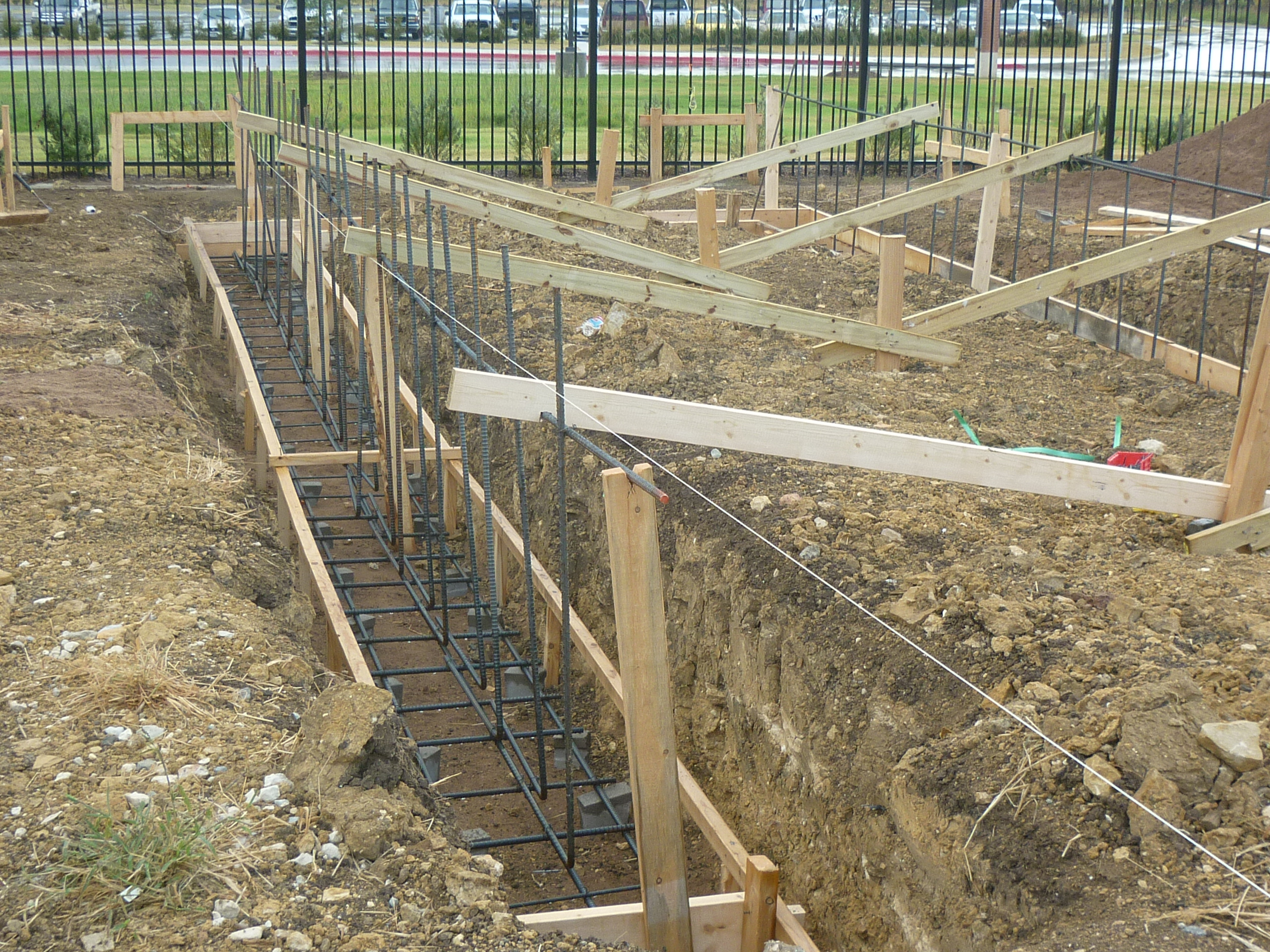 footer trenches with forms and rebar