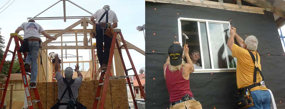 students loading trusses and installing a window