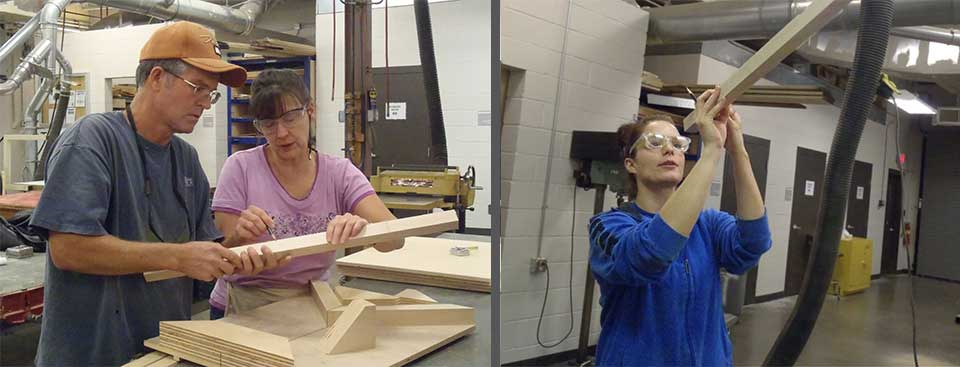 students building jigs