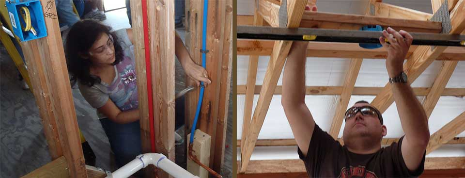 installing an electrical outlet and cold water pipe