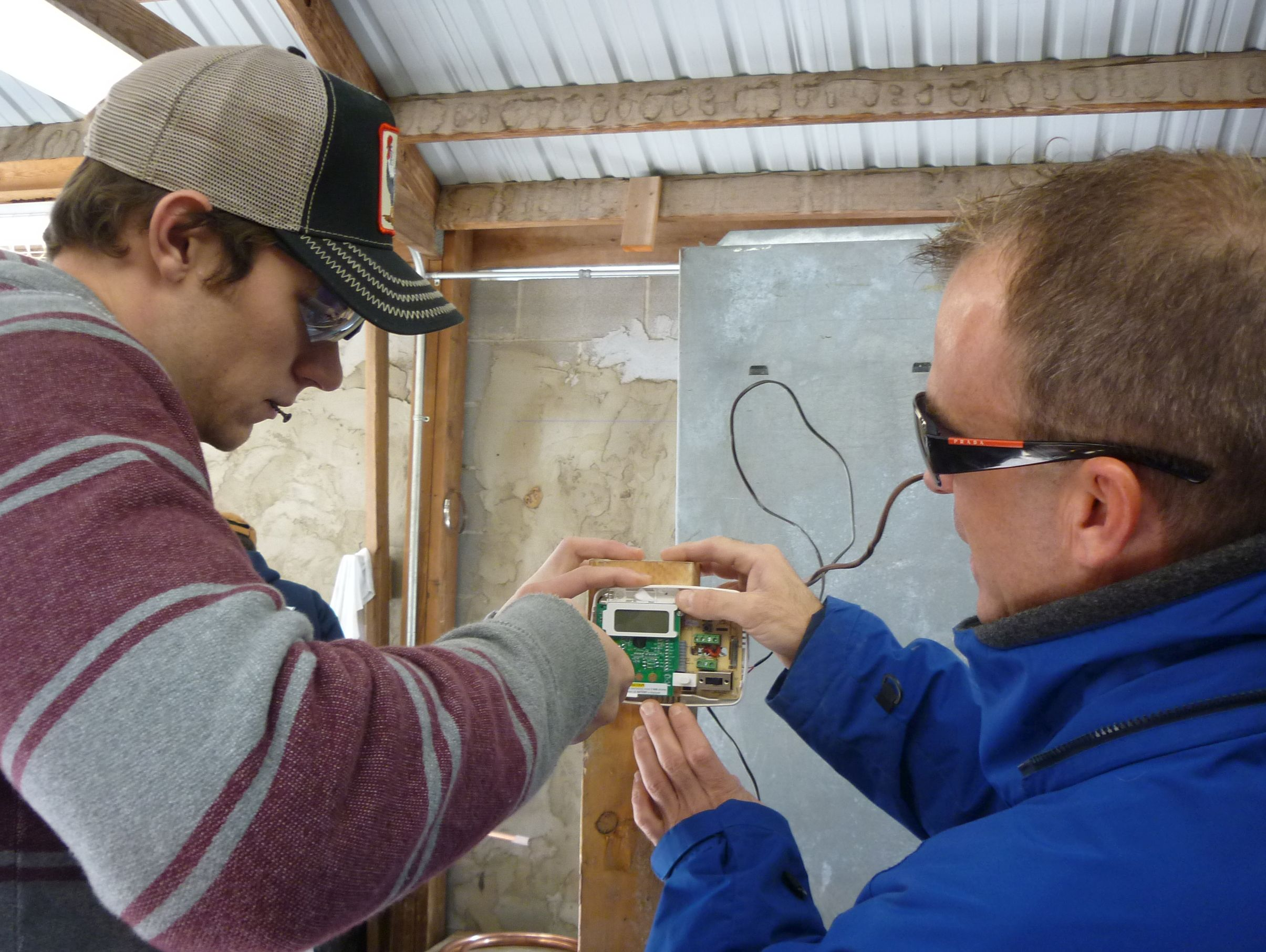 students wiring thermostat