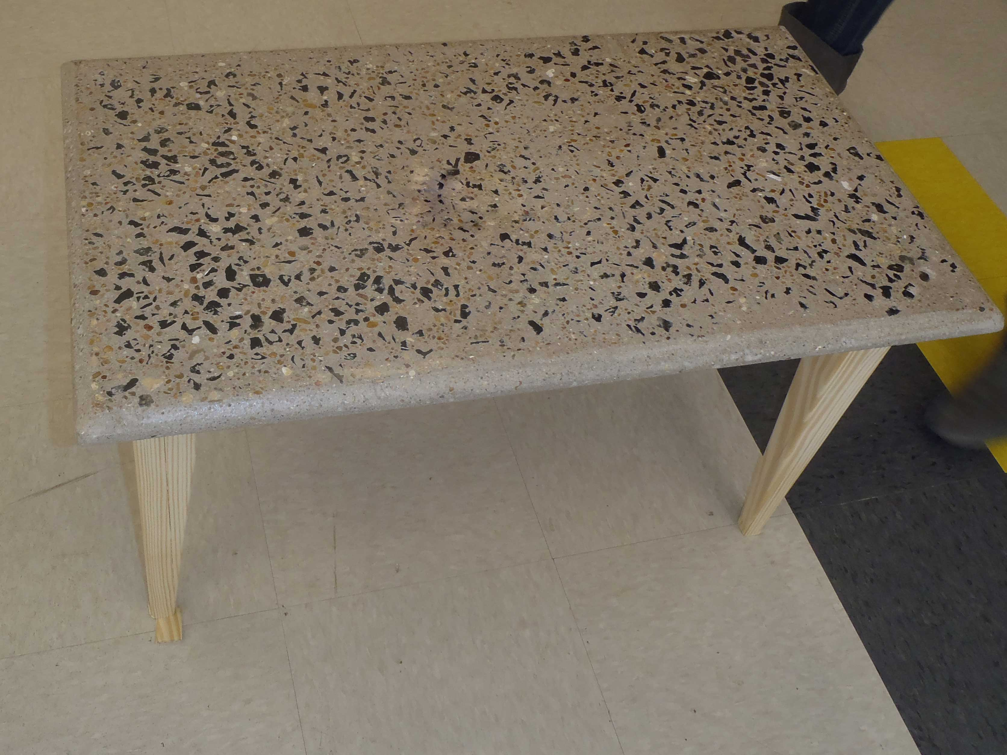 finished concrete table
