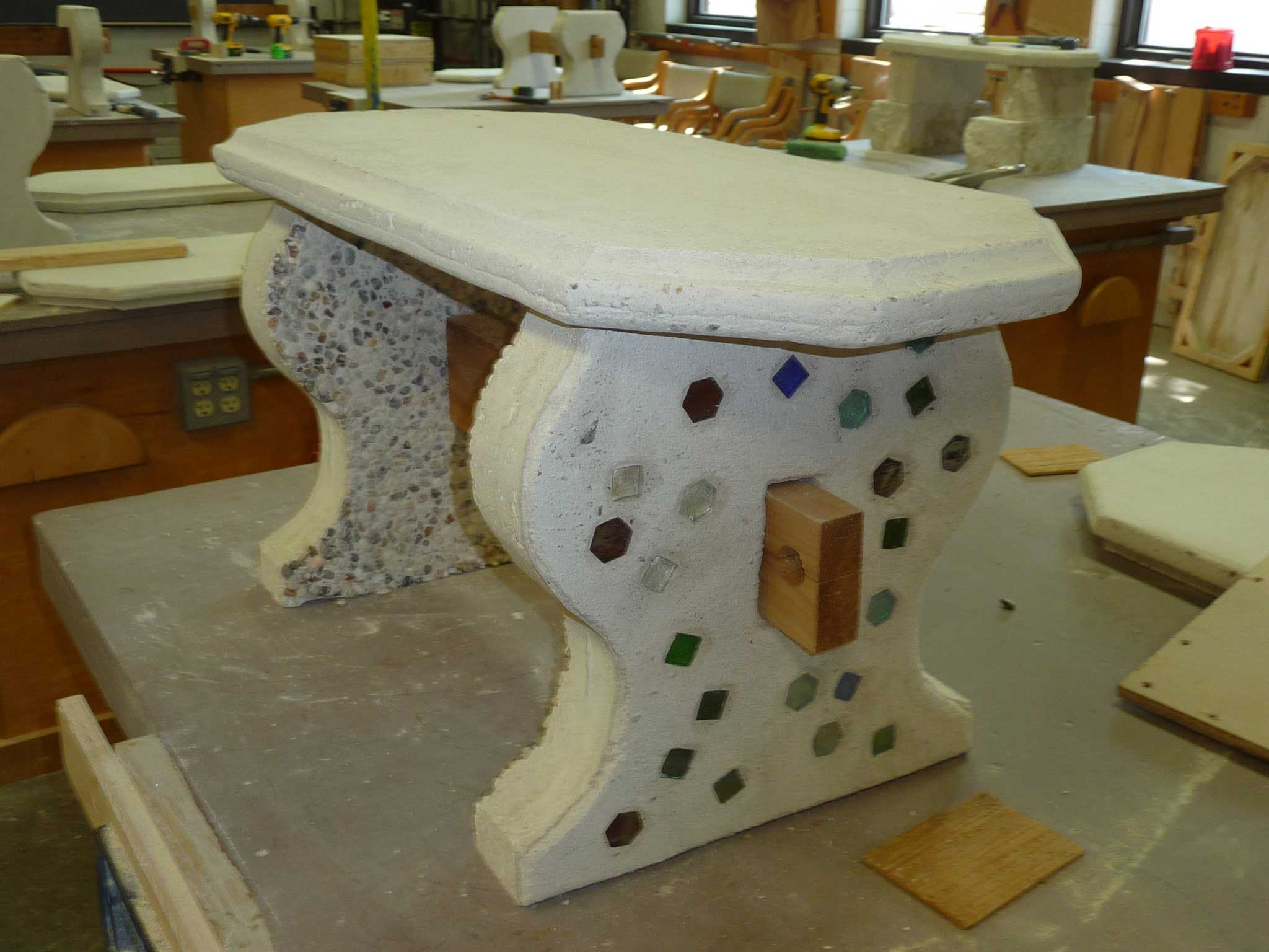 completed concrete garden bench