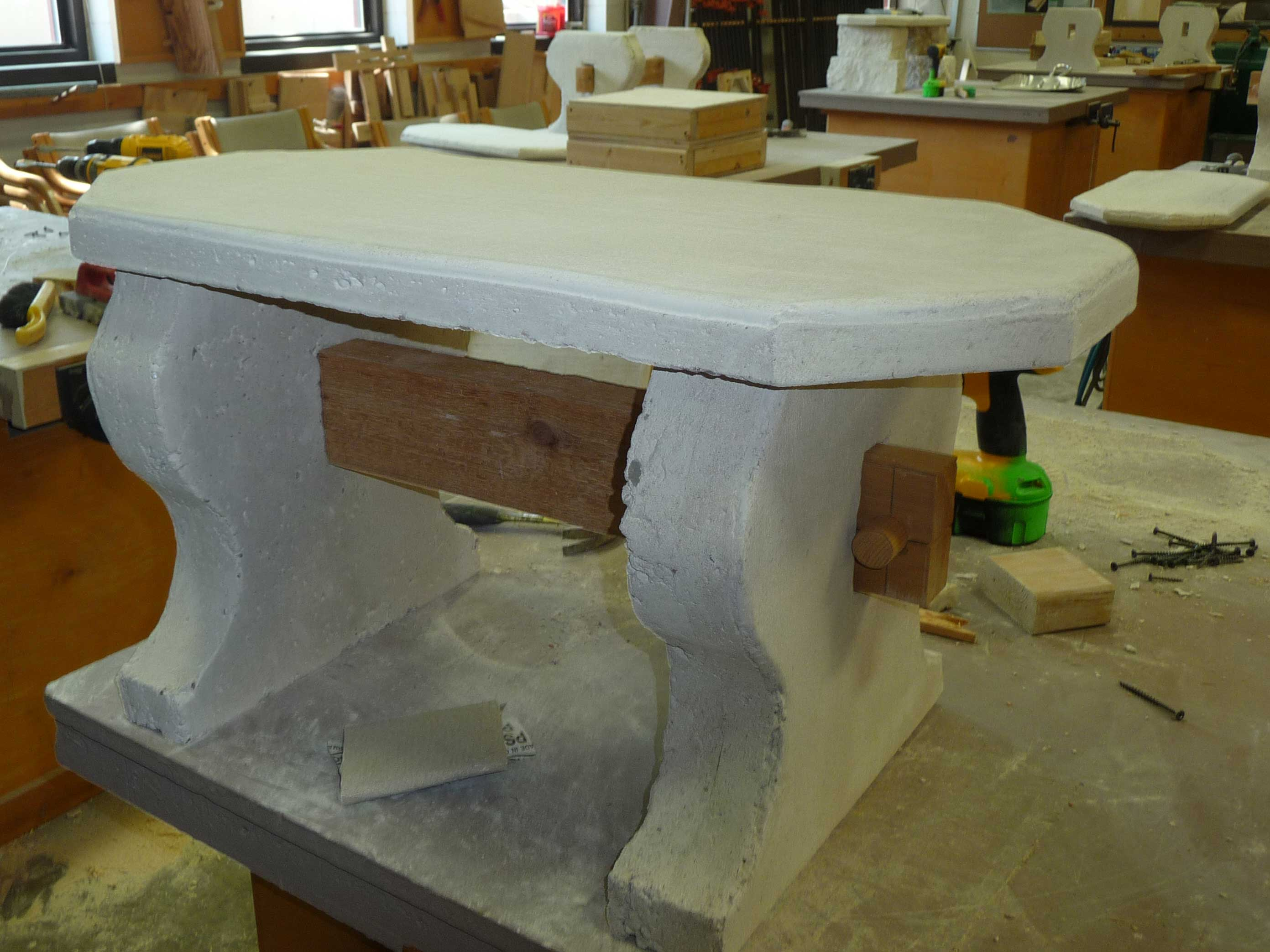 finished concrete garden bench