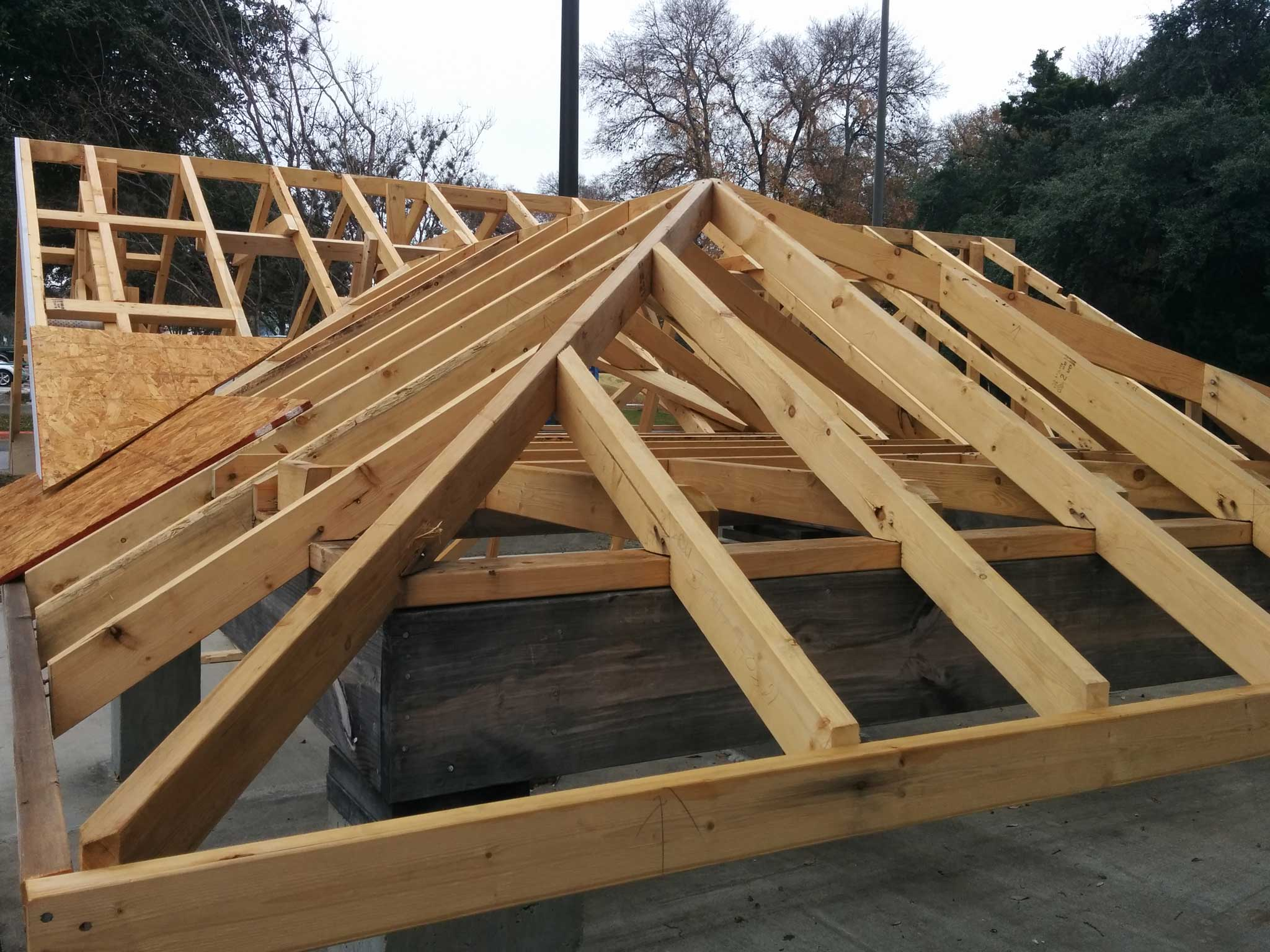 roof partially completed