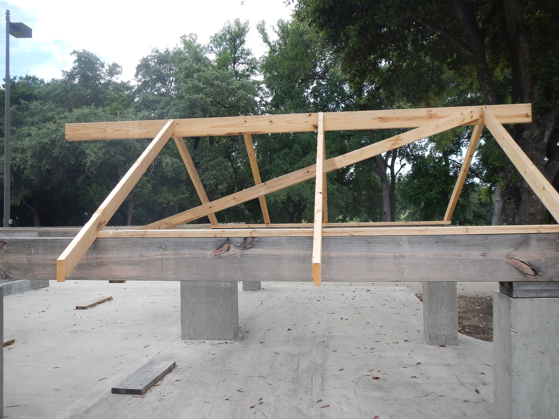 beginning of a roof frame
