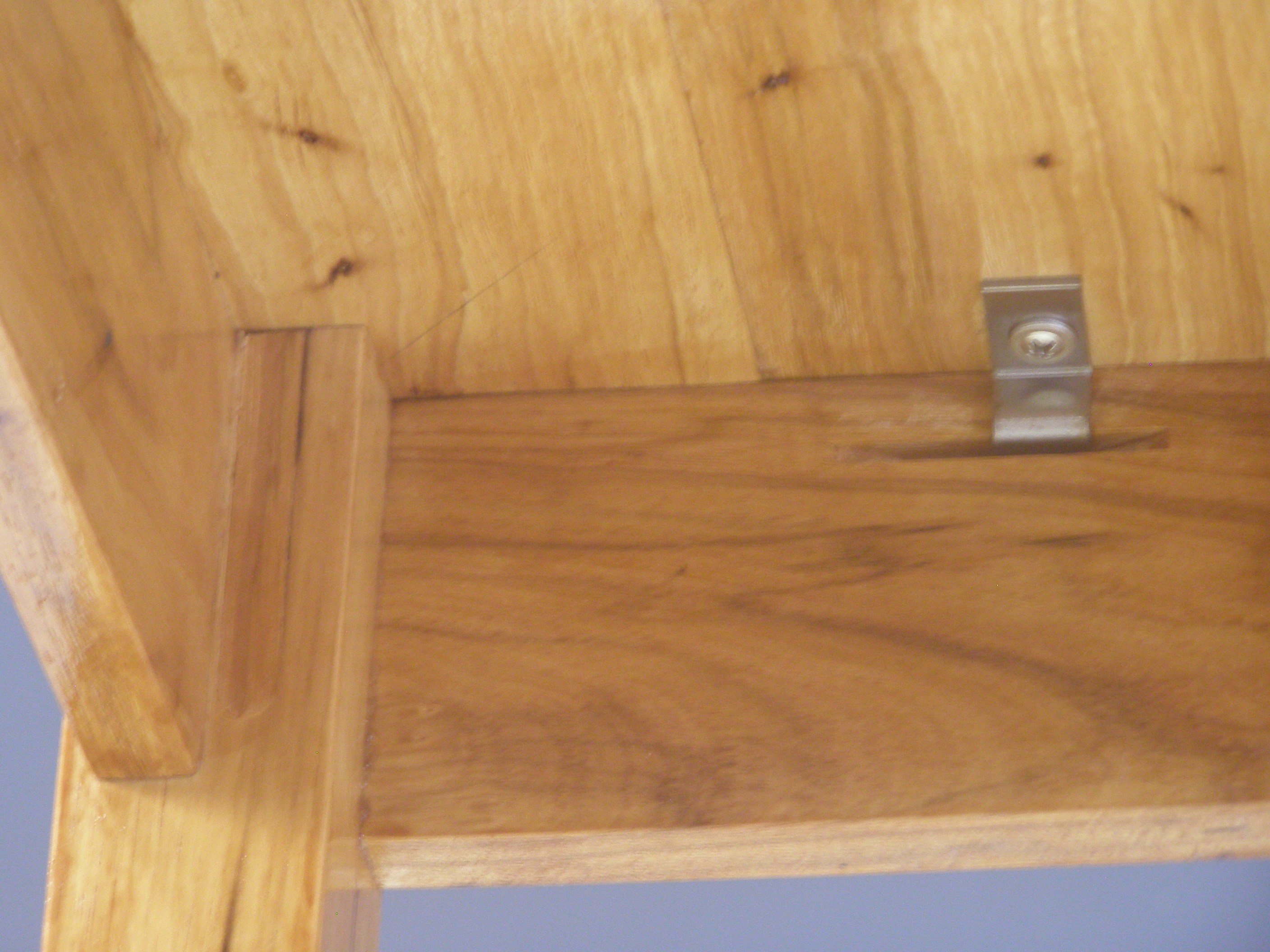 underside of inished table