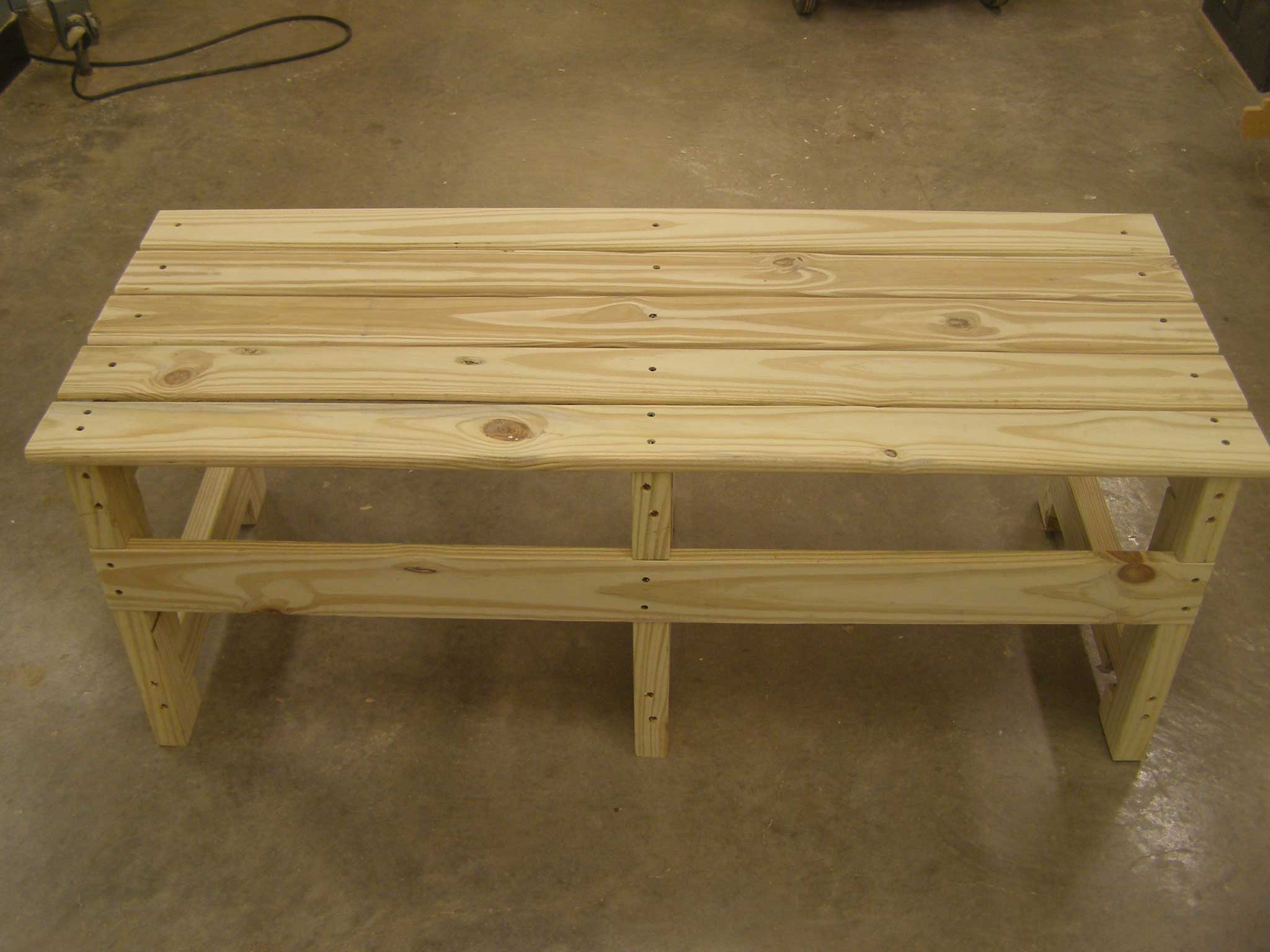 finished bench, top view