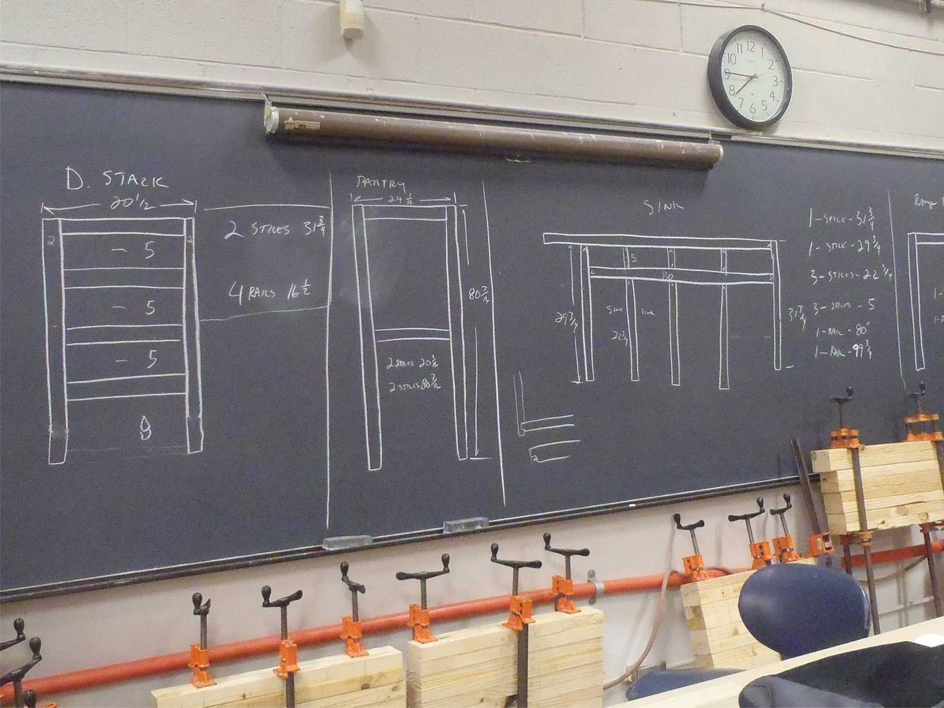 blackboard with cabinet diagrams