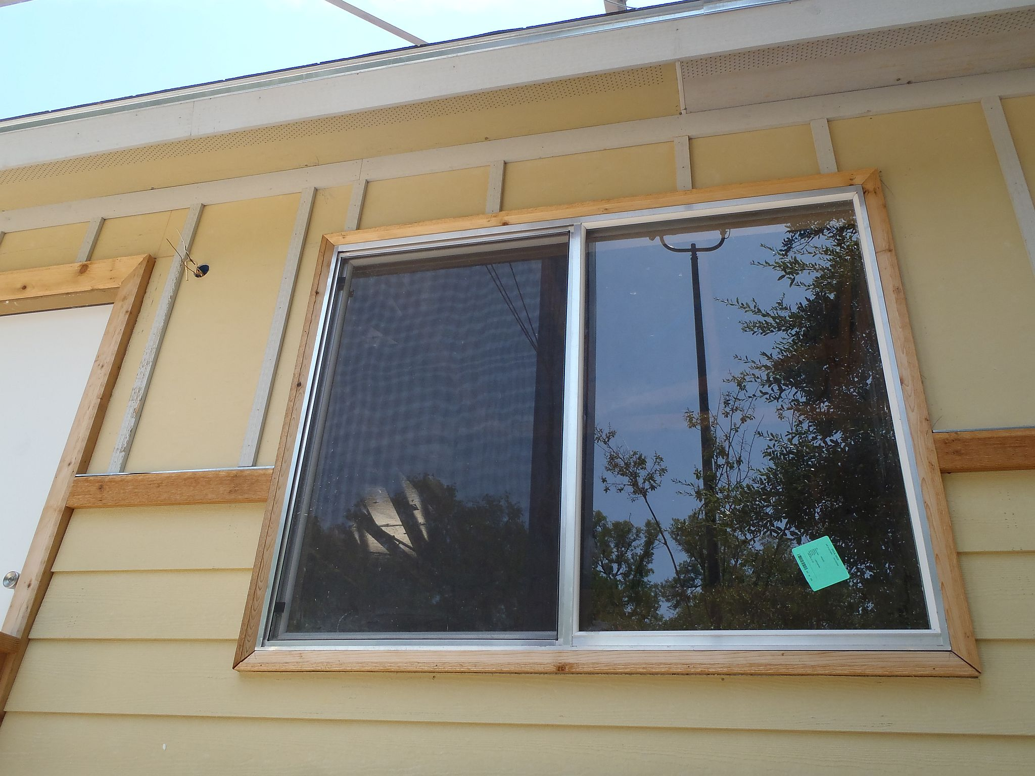 finished exterior building window