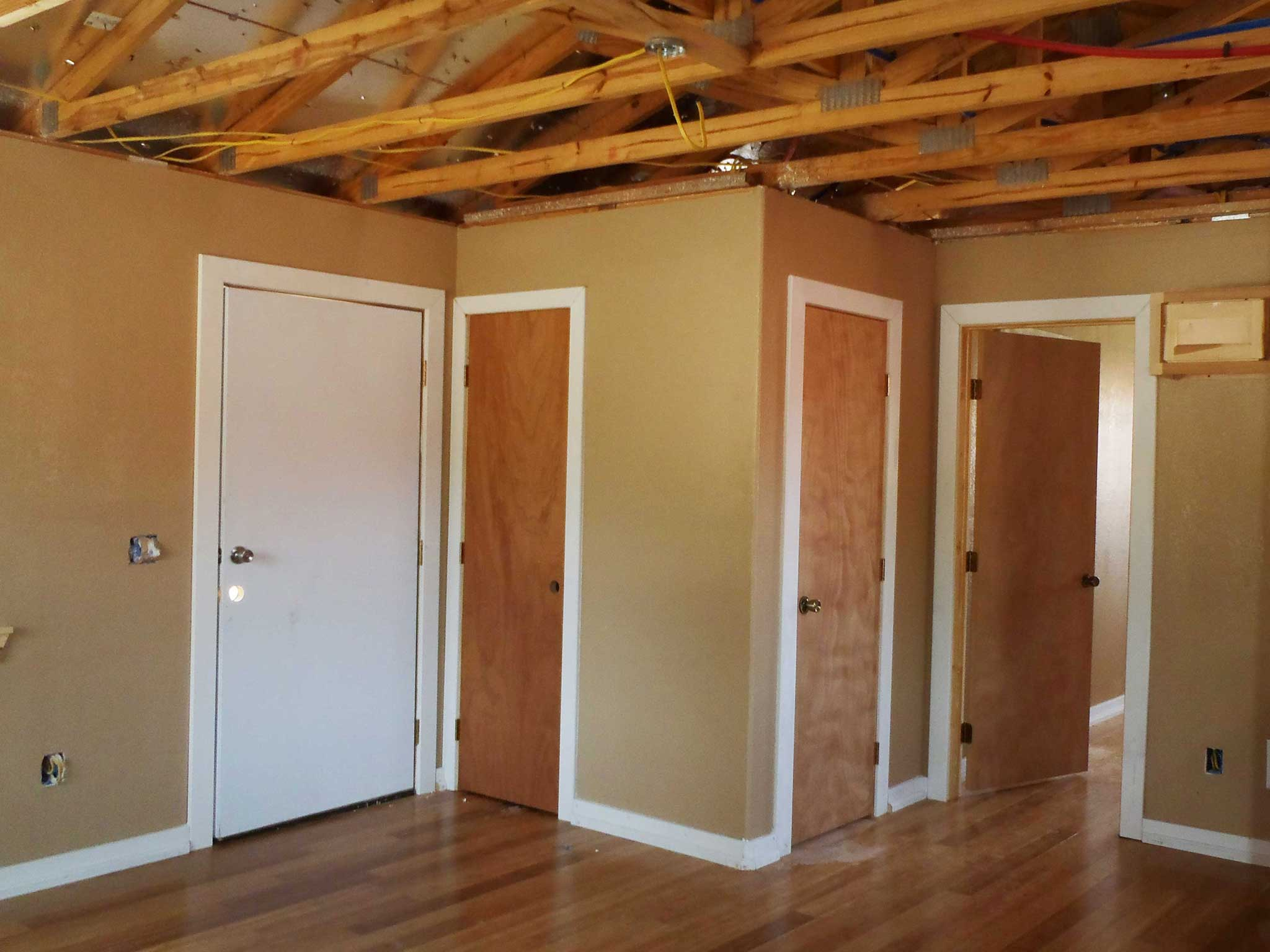 finished bldg interior doors from living area