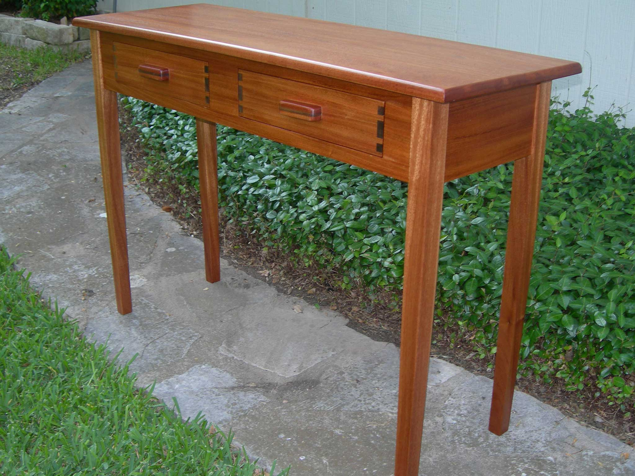finished sofa table oak stain