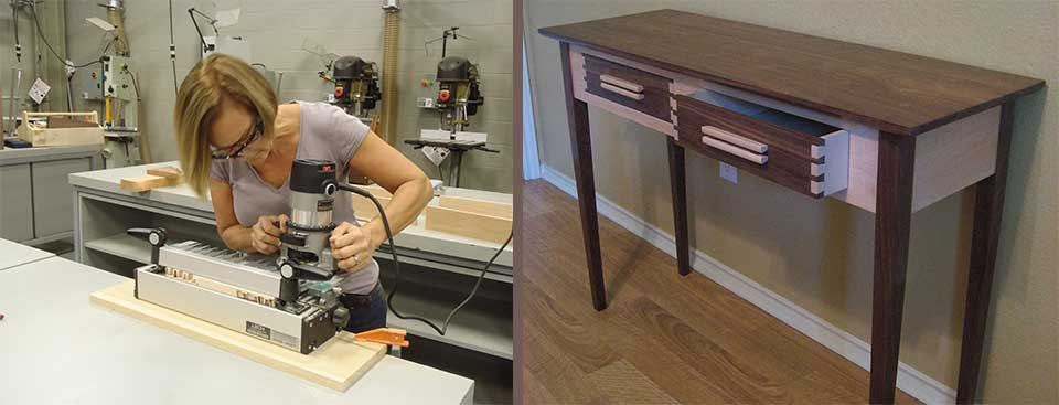student using router and completed table