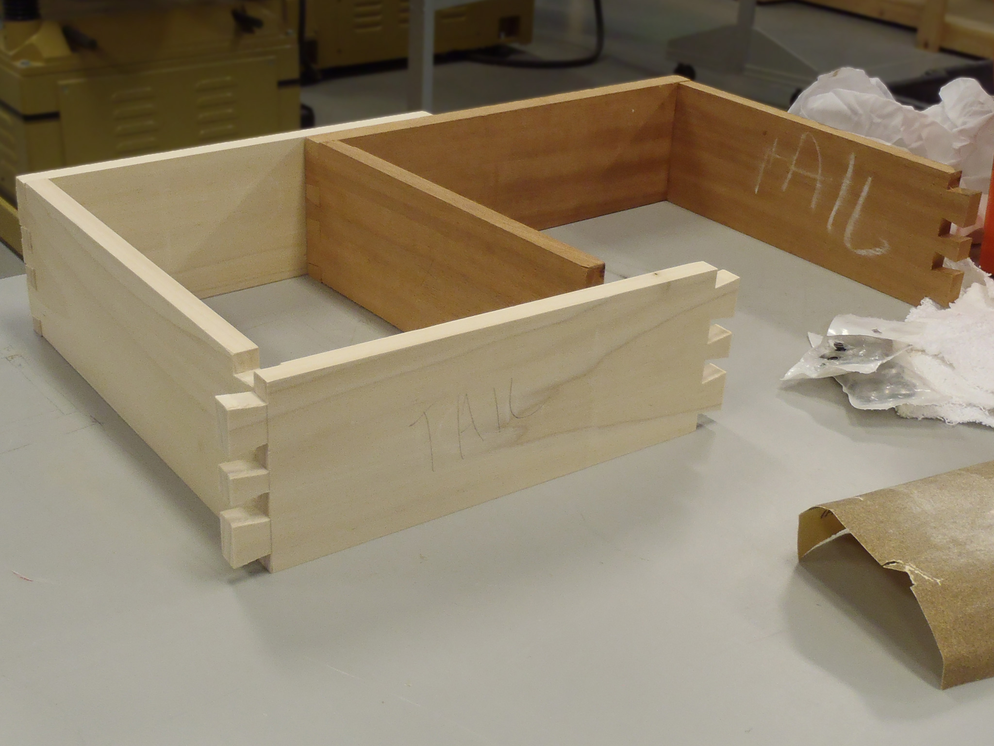 partly assembled drawer with dovetail cuts