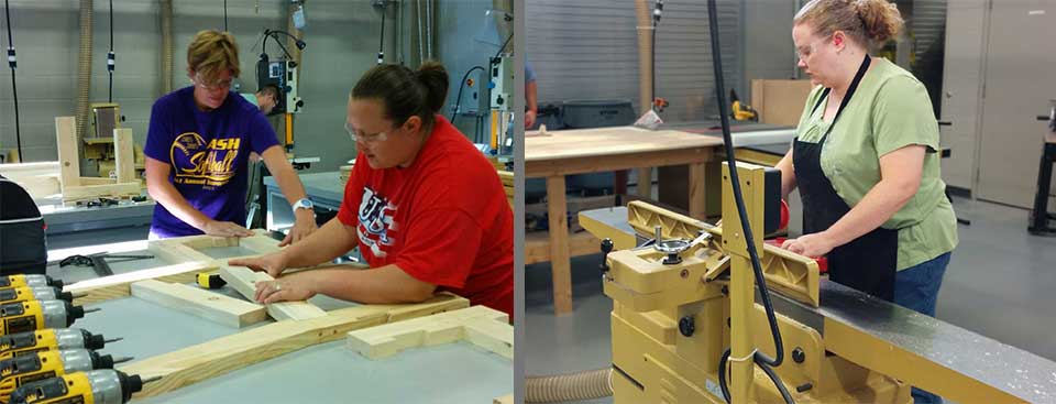 students assembling cut pices and working on jointer