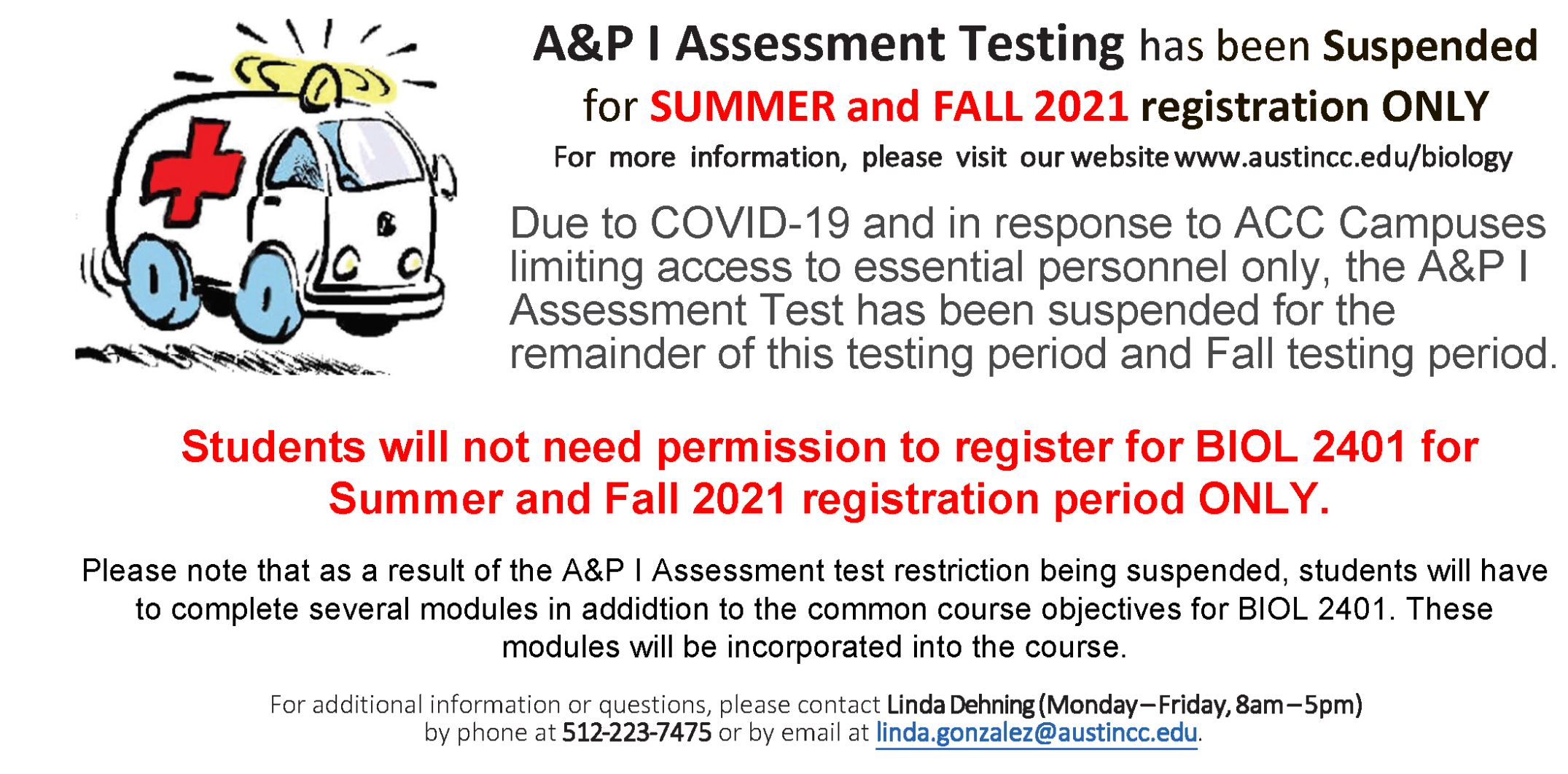 A&P I Assessment Suspended