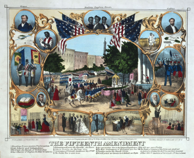 """Reduced Version of """"The Fifteenth Amendment, Celebrated May 19th 1870,"""" Published & printed by Thomas Kelly"""