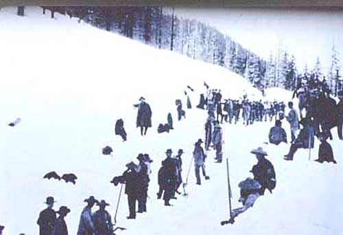 Chinese Railroad Workers on Central Pacific Railroad in Sierra Nevadas