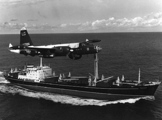 A U.S. Navy Lockheed SP-2H Neptune of Patrol Squadron VP-18 Flying Phantoms Over a Soviet Freighter During Cuban Missile Crisis, October 1962