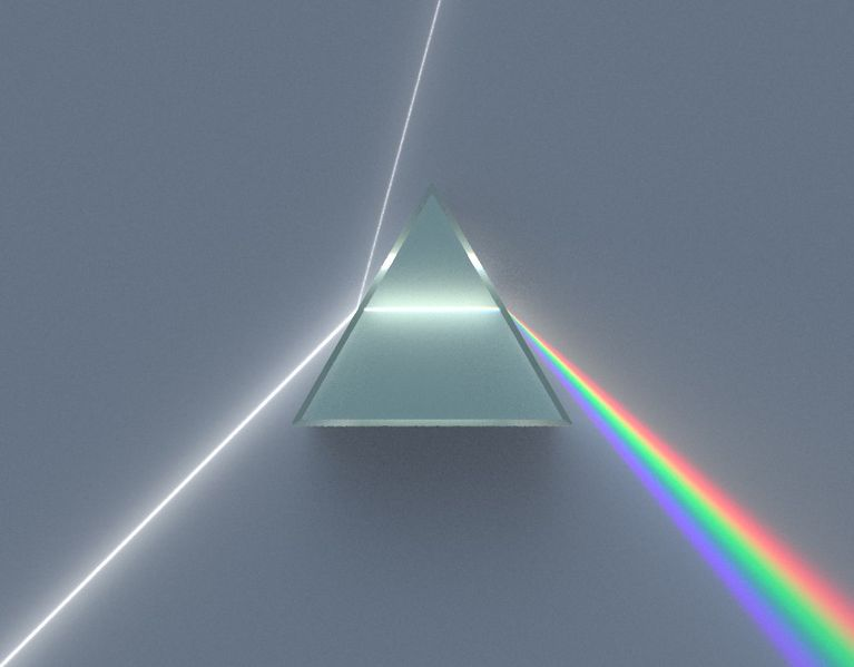 A dispersive equillateral prism refracting and reflecting an incoming beam of uniform white light