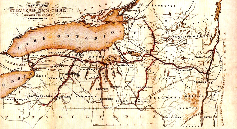 Erie Canal Map, 1853
