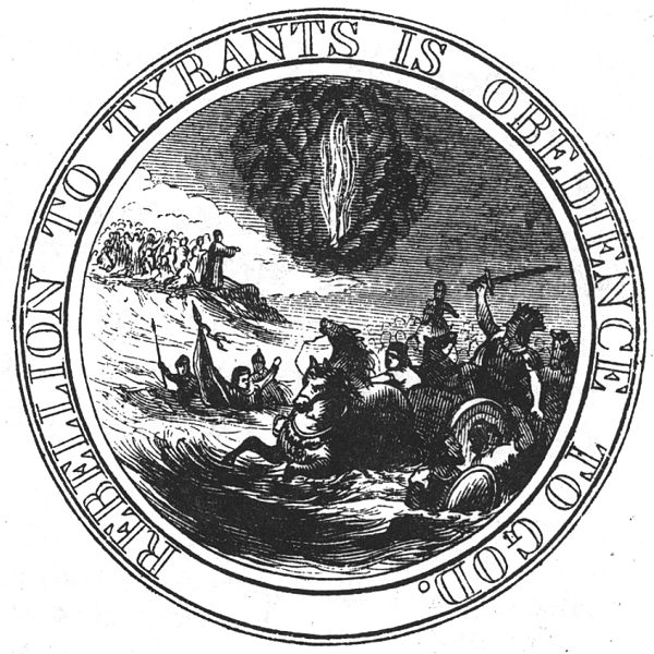 nterpretation of the first committee's design for the reverse of the Great Seal of the United States in 1776, which was never used. This was Benjamin Franklin's design, originally suggested for the obverse, but the committee chose Pierre Eugene du Simitiere's design for that side. This interpretation was made in 1856 by Benson J. Lossing.