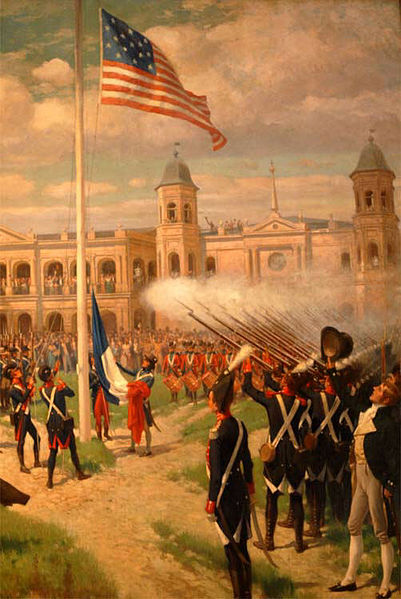 Hoisting of American Colors over Louisiana (Jackson Square, New Orleans), Thure de Thulstrup 1904 Depicting Events of 1804, Cabildo Museum