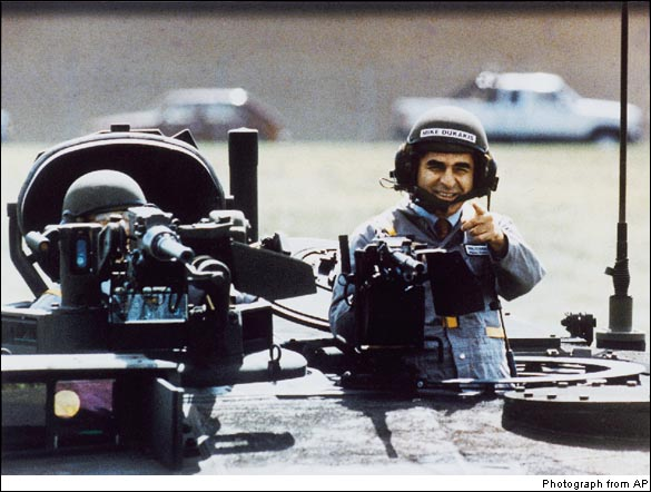 Presidential Candidate Michael Dukakis (D) in Tank, 1988