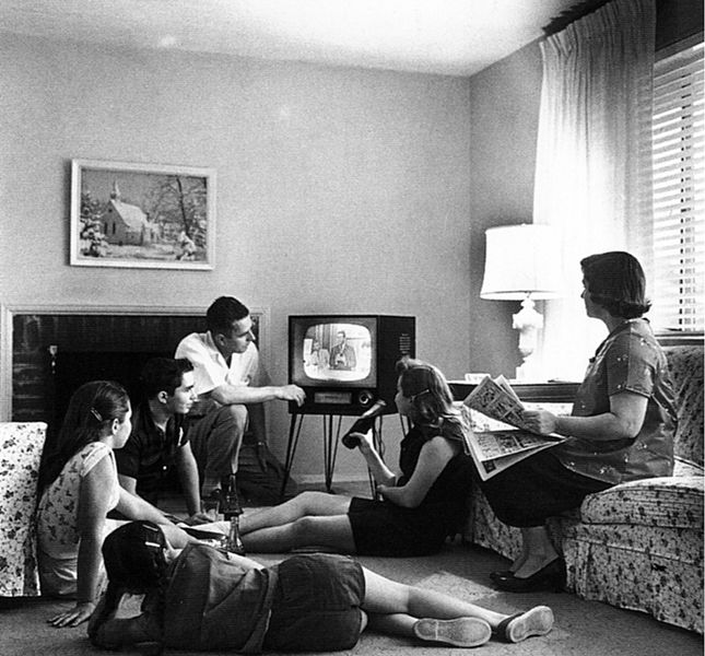 Family Watching Television, 1958, National Archives