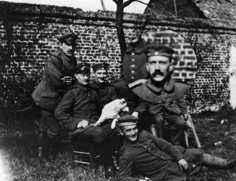 Hitler (far right, seated) with his army comrades of the Bavarian Reserve Infantry Regiment 16 (c. 1914–18)
