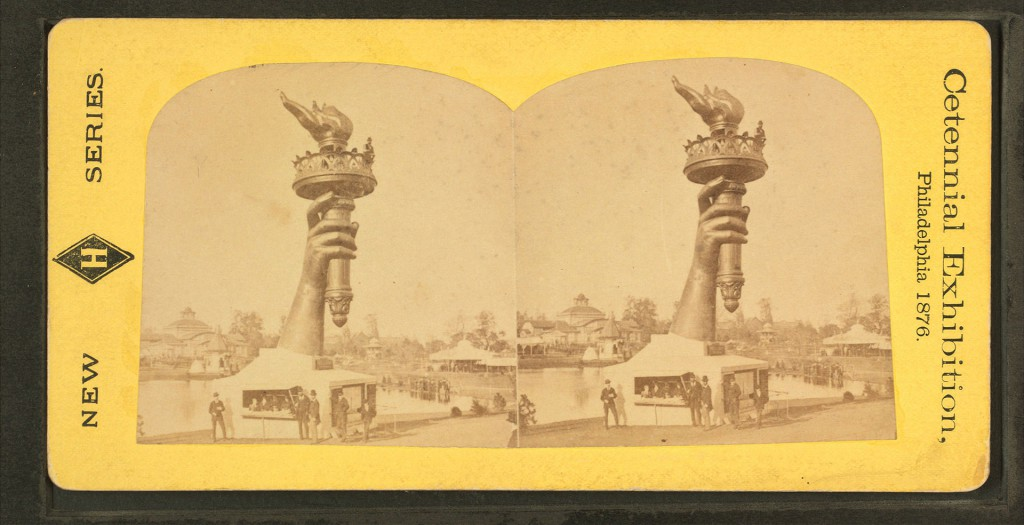 Steroescopic View of Hand & Torch of Bartholdi's Statue of Liberty, Philadelphia, 1876, Robert Dennis Collection