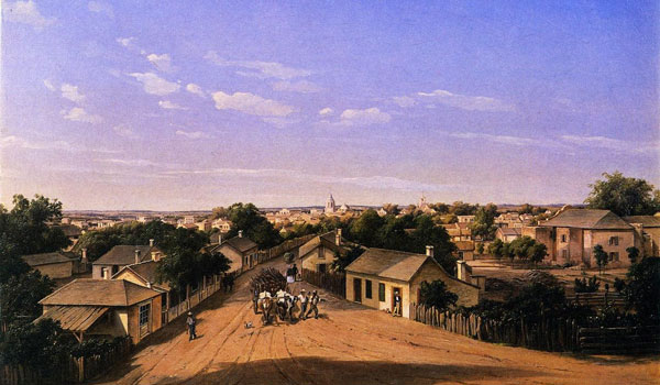 """Crockett Street Looking West, San Antonio de Bexar."" Painting by Hermann Lungkwitz,1857"