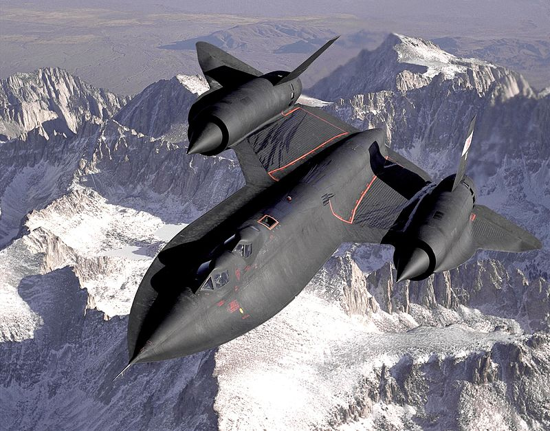 An SR-71B Trainer With Second Cockpit for Instructor Over the Sierra Nevada Mountains, 1994, Photo by Judson Brohmer, USAF