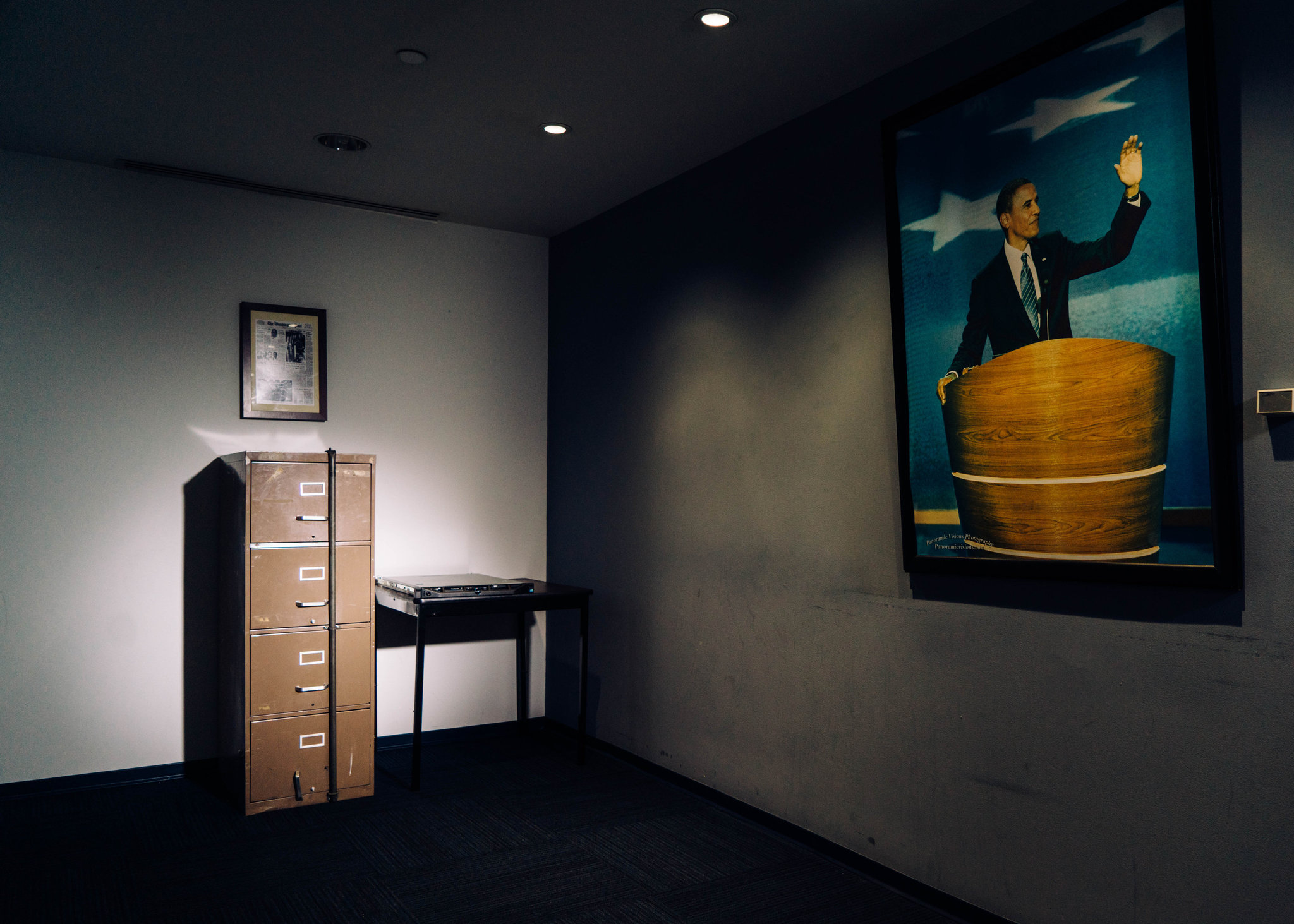 Cabinet From Watergate Break-In of 1972 Next to Democratic National Committee's Hacked Email Server From 2016, Justin Gellerson, New York Times
