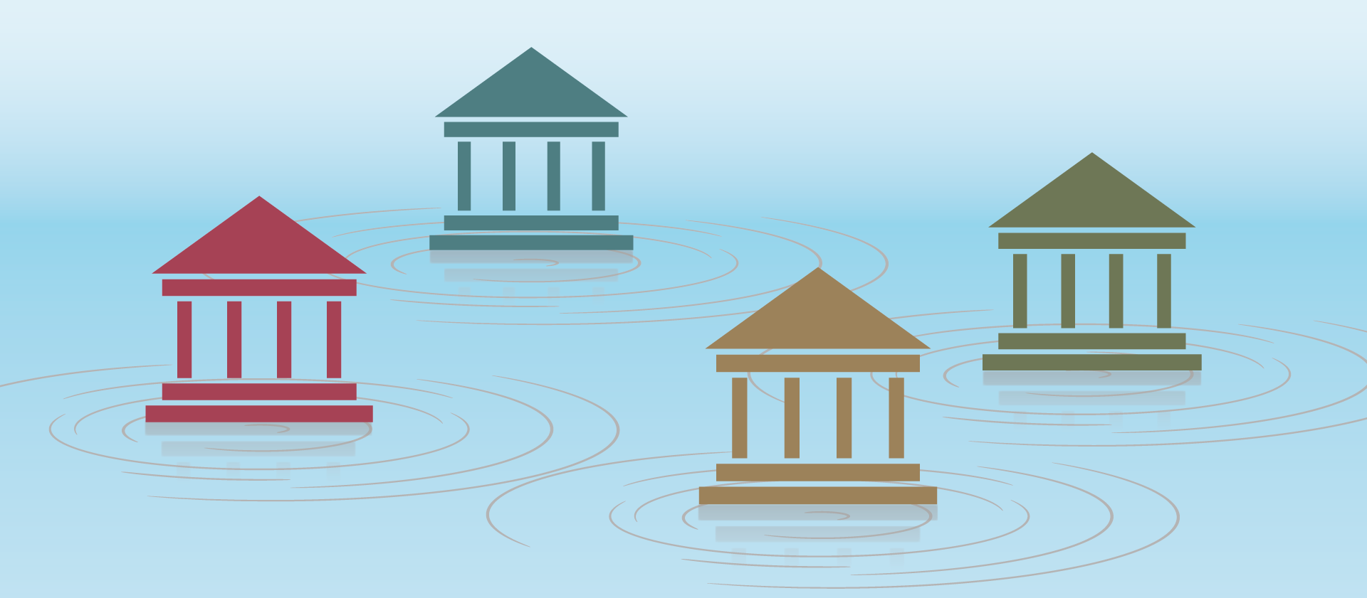 Header Image of ripples and institution icons