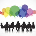 image of meeting with speech bubbles