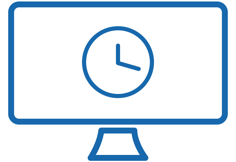 Icon of a computer monitor displaying a clock