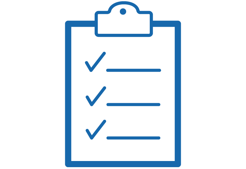 Icon showing graphic of a clipboard with items checked off